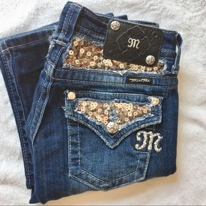 Miss Me | Gold Sequin Sparkle Bootcut Jeans!